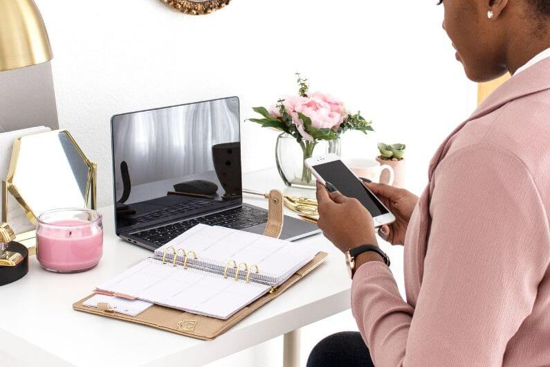 Tech Virtual Assistant Working at her desk