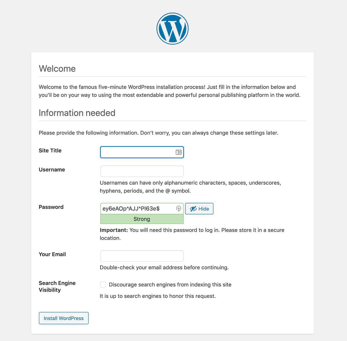 Fill in your destails to get started with WordPress